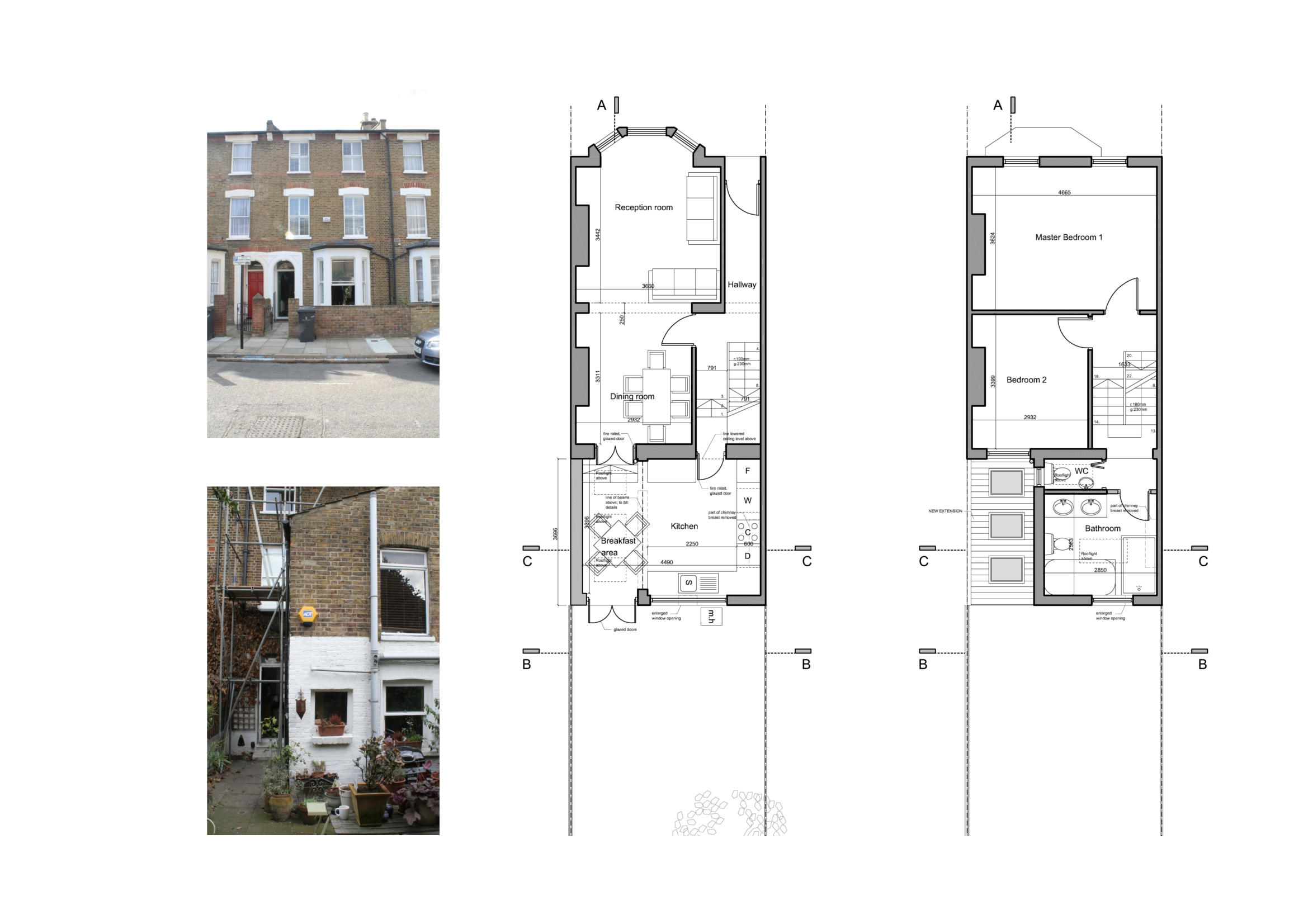Architect designed kitchen extension clapham north lambeth sw4 for House extension drawings