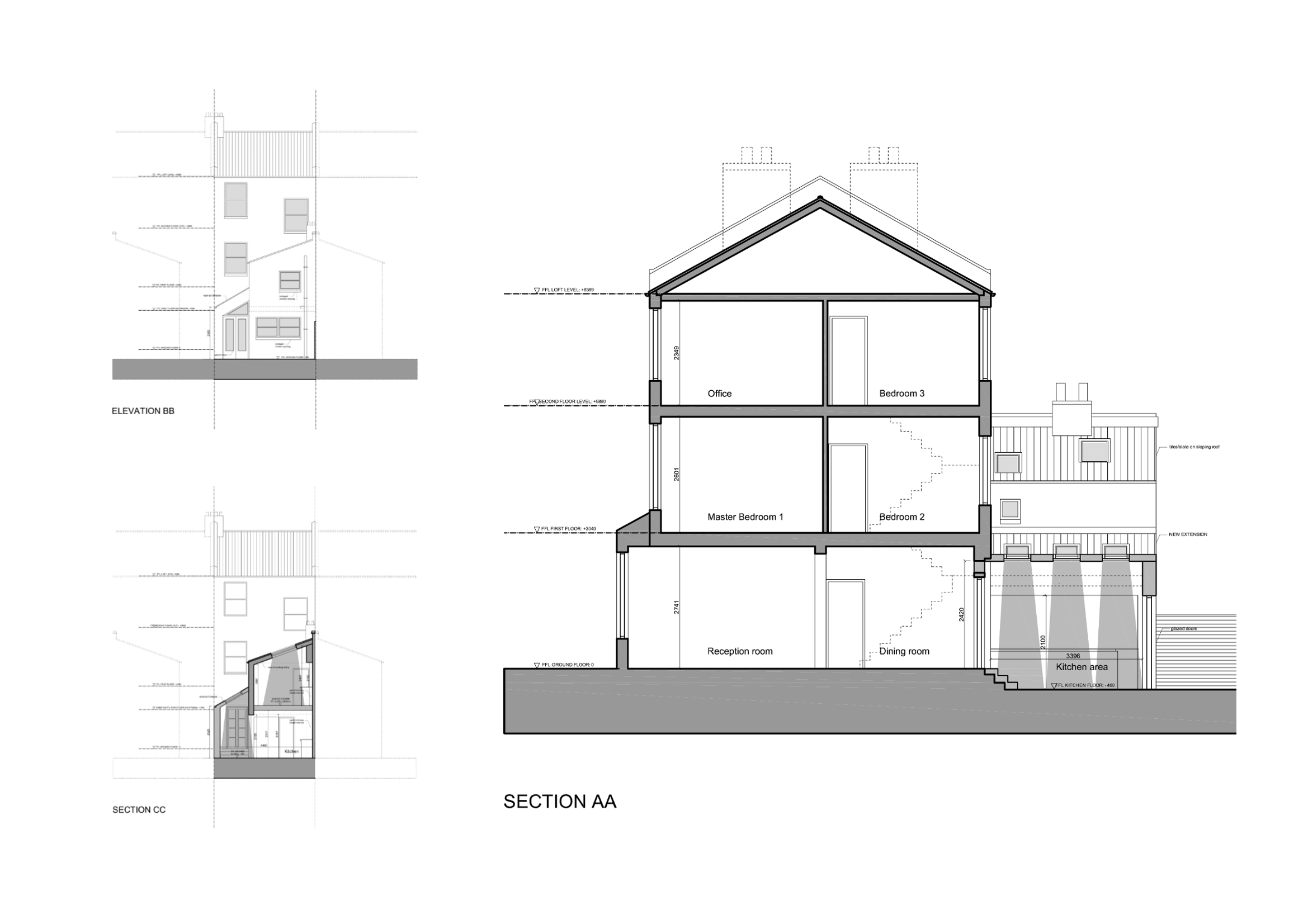 Architect designed kitchen extension clapham north lambeth sw4 for Floor plans elevations and sections