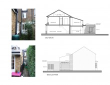 02 St Margarets, Richmond TW1 - Rear house extension - Section and elevation