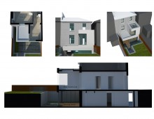 Architect designed two storey house extension Brockley Lewisham SE4 - 3D corner window option