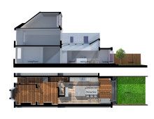 Architect designed house extension West Hampstead Camden NW6 - 3D section and floor plan