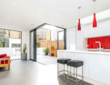 Architect designed rear house extension Herne Hill SE24 Lambeth - Kitchen and garden view