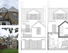 Architect designed house extension Winchmore Hill Enfield N21 - Rear elevation and section