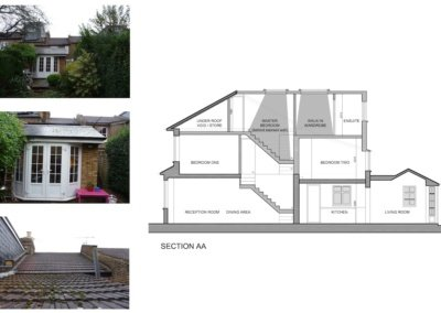 01 St Margarets Richmond TW1 House roof extension Section 1200x795 400x284 Filterable Portfolio of Residential Architecture Projects