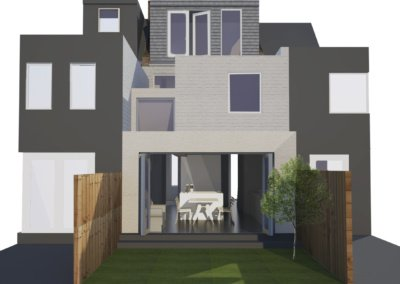 Architect designed house extension West Hampstead Camden NW6 – 3D visual 400x284 Filterable Portfolio of Residential Architecture Projects