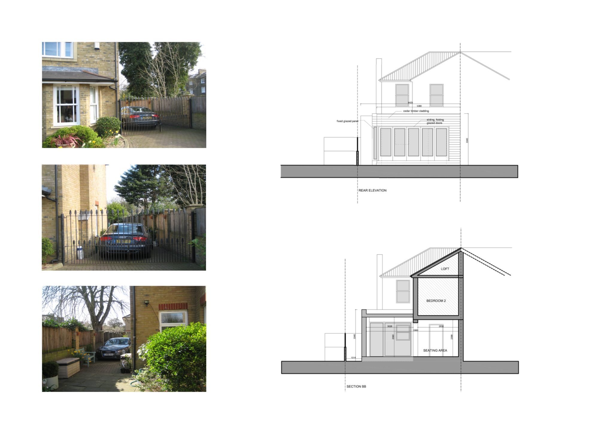 Architect Designed House Extension Brockley Lewisham Se4 Design Section And Rear Elevation