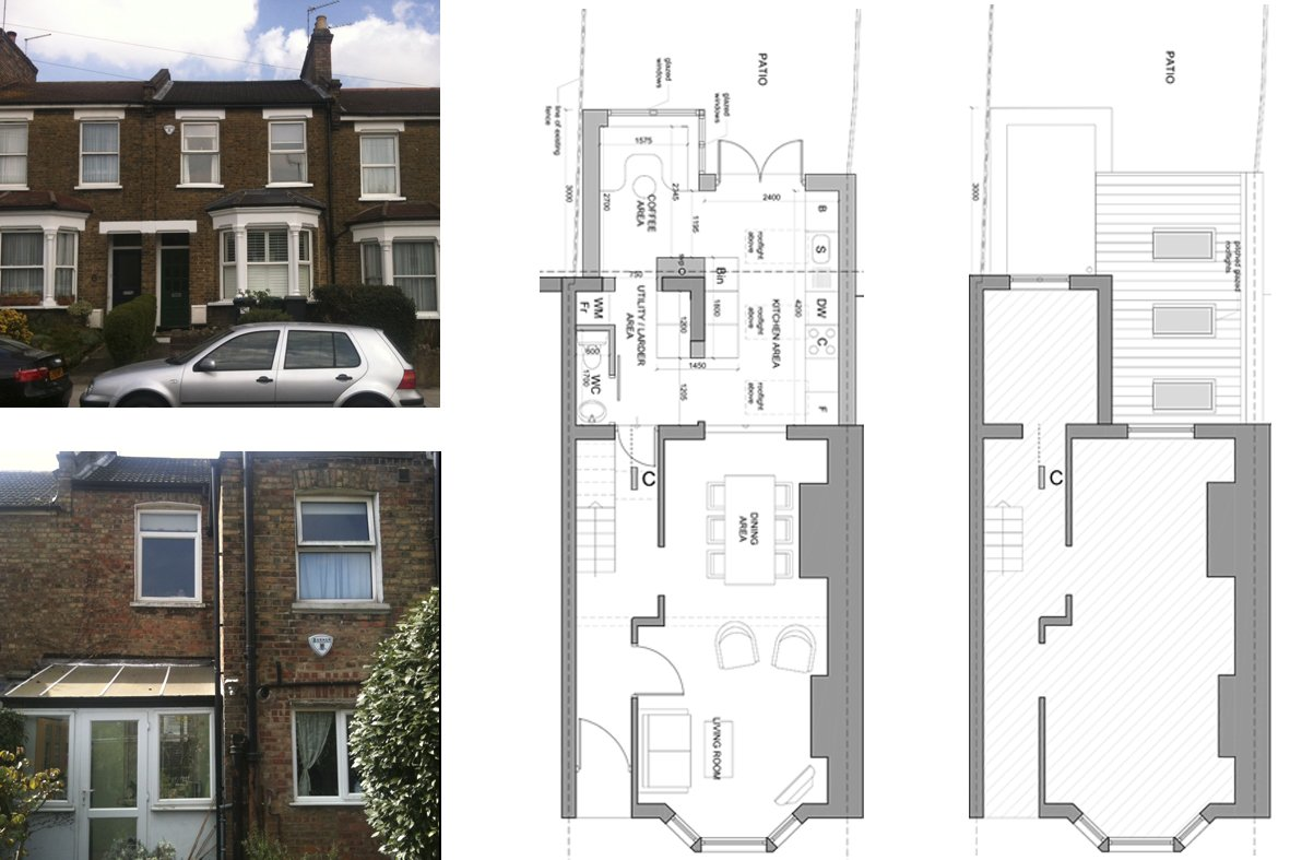 Architect designed rear house extension finchley central for Extension floor plans