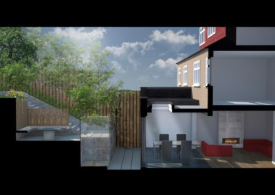 Architect designed rear house extension Highgate Haringey N6 – 3D Section copy 400x284 Portfolio Grid | GOA Studio | London Residential Architecture