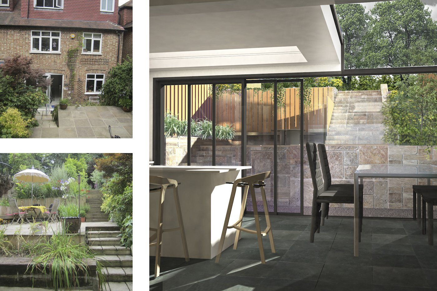 Architect designed rear house extension Highgate Haringey N6 – 3D internal view to garden 1 Haringey Residential Architect Projects
