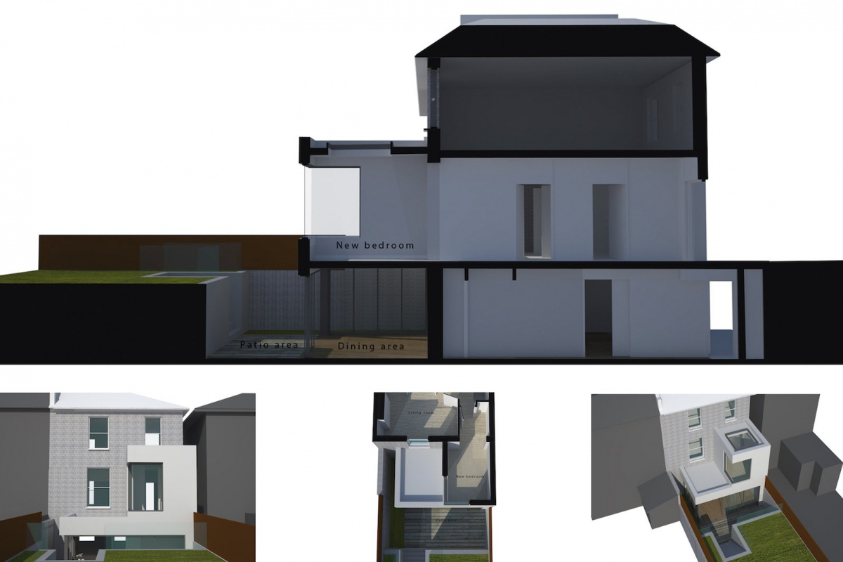Architect designed two storey house extension Brockley Lewisham SE4 – 3D corner window option 1200x800 Brockley, Lewisham SE4 | Two storey house extension