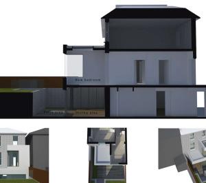 Architect designed two storey house extension Brockley Lewisham SE4 – 3D corner window option 300x266 Brockley, Lewisham SE4 | Two storey house extension