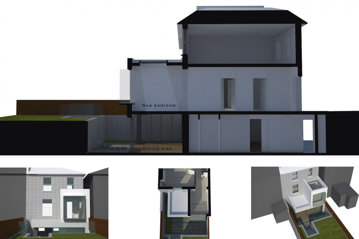 Architect designed two storey house extension Brockley Lewisham SE4 – 3D window seat option 1200x800 Brockley, Lewisham SE4 | Two storey house extension