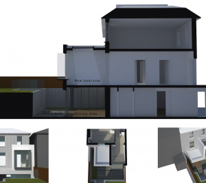 Architect designed two storey house extension Brockley Lewisham SE4 – 3D window seat option 300x266 Brockley, Lewisham SE4 | Two storey house extension
