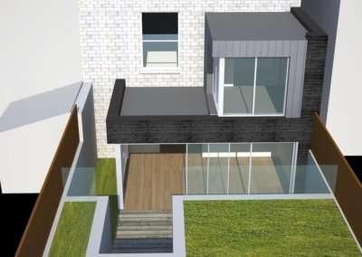Architect designed two storey house extension Brockley Lewisham SE4 – Design rear elevation 3D copy 400x284 Portfolio Grid | GOA Studio | London Residential Architecture