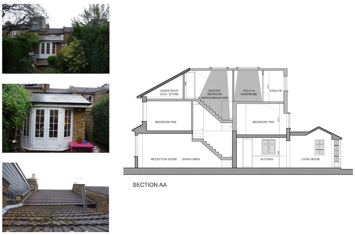 01 St Margarets Richmond TW1 House roof extension Section 1200x795 St Margarets I, Richmond TW1   House extension