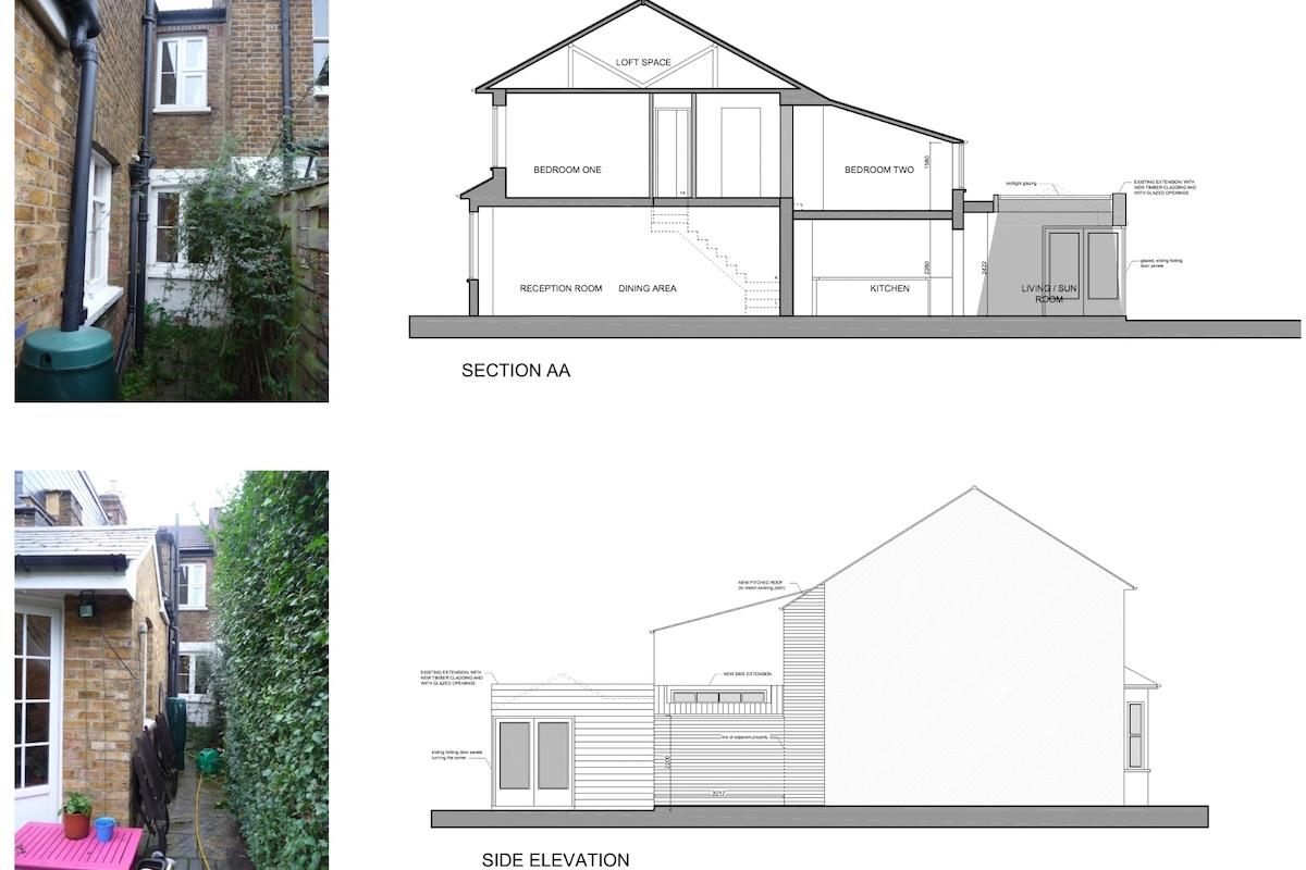 02 St Margarets Richmond TW1 Rear house extension Section and elevation 1200x800 St Margarets II, Richmond TW1 | House extension