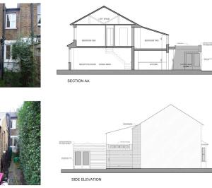 02 St Margarets Richmond TW1 Rear house extension Section and elevation 300x266 St Margarets II, Richmond TW1 | House extension