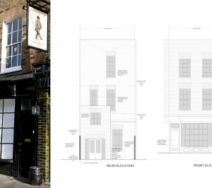 Architect designed Listed House extension Angel Islington EC1 Front and rear design elevations1 300x266 Angel, Islington EC1 | Listed house extension