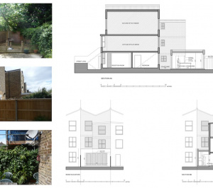 Architect designed flat extension Maida Vale Westminster W9 Sections and elevations 1 300x266 Maida Vale, Westminster W9 | Flat extension