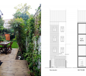 Architect designed flat extension Warwick Avenue Westminster W9 Design elevations 300x266 Warwick Avenue, Westminster W9 | Flat extension