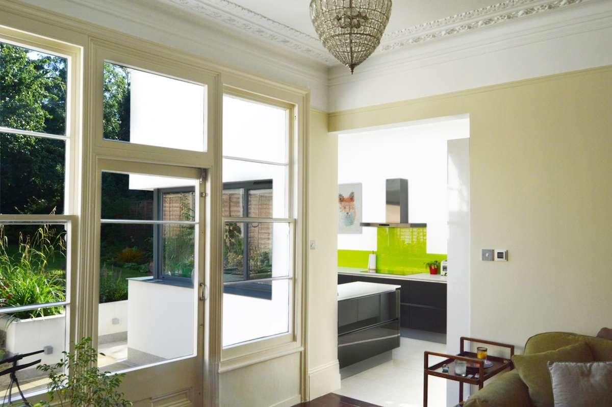 Architect designed garden flat extension Kilburn Brent NW2 Kitchen extension and garden views 1 GOAStudio | London Residential Architecture