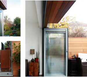 Architect designed house extension Brockley Lewisham SE4 Timber cladding and glass transparency 300x266 Brockley, Lewisham SE4 | House extension