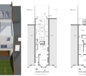 Architect designed house extension West Hampstead Camden NW6 Design floor plans 300x266 West Hampstead, Camden NW6 | House extension