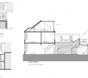 Architect designed house extension West Hampstead Camden NW6 Design sections and elevations 300x266 West Hampstead, Camden NW6 | House extension
