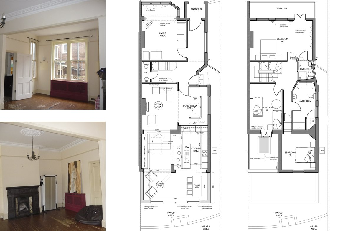 Architect designed house extension Winchmore Hill Enfield N21 Floor plans Winchmore Hill, Enfield N21 – House extension and development