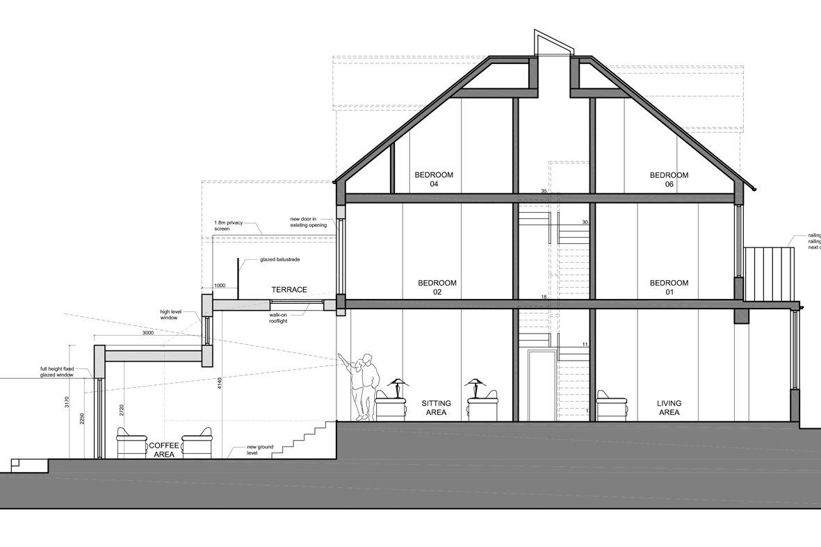 Architect designed house extension Winchmore Hill Enfield N21 Section AA Winchmore Hill, Enfield N21 – House extension and development