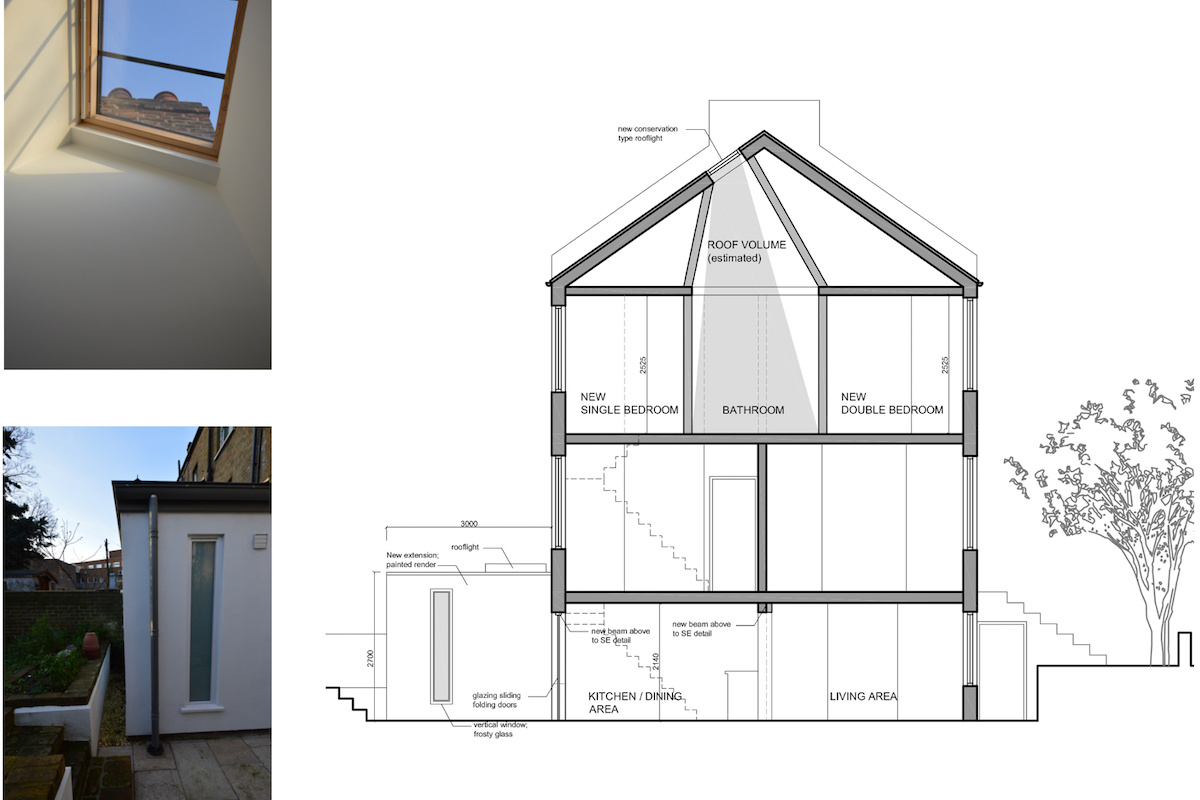 Architect designed house extension with full refurbishment Lewisham SE13 Design section 1200x800 Lewisham SE13 | House extension and full refurbishment