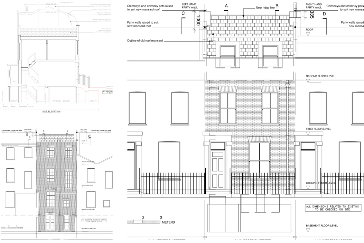 Architect designed mansard roof house extension Angel Islington N1 Design elevations 1200x800 Angel, Islington N1 | Mansard roof house extension