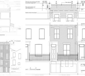 Architect designed mansard roof house extension Angel Islington N1 Design elevations 300x266 Angel, Islington N1 | Mansard roof house extension