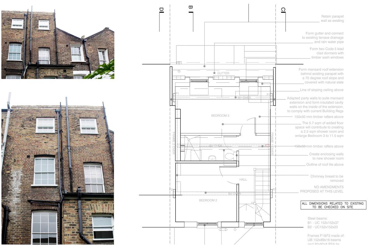 Architect designed mansard roof house extension Angel Islington N1 Design plan 1200x800 Angel, Islington N1 | Mansard roof house extension