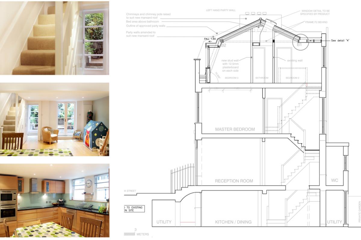 Architect designed mansard roof house extension Angel Islington N1 Design section 1200x800 Angel, Islington N1 | Mansard roof house extension