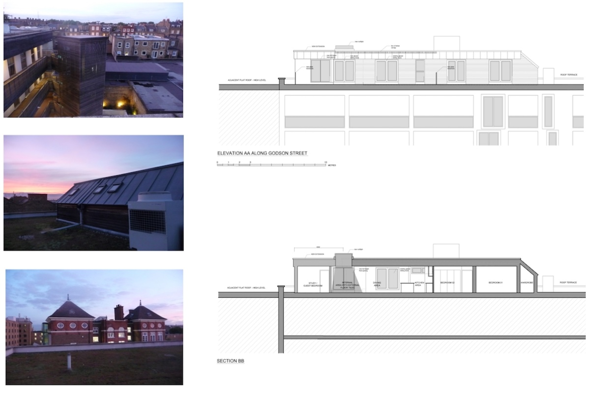 Architect designed penthouse extension Angel Islington N1 Section and elevation 1200x800 Angel, Islington N1 | Penthouse extension
