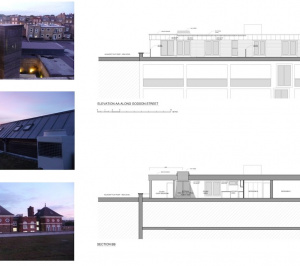 Architect designed penthouse extension Angel Islington N1 Section and elevation 300x266 Angel, Islington N1 | Penthouse extension