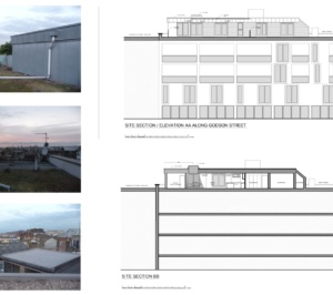 Architect designed penthouse extension Angel Islington N1 Site section and elevation 300x266 Angel, Islington N1 | Penthouse extension
