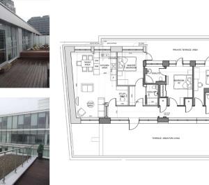 Architect designed penthouse extension Barbican Islington EC1Y Floor plan 1 1 300x266 Barbican, Islington EC1Y | Penthouse extension