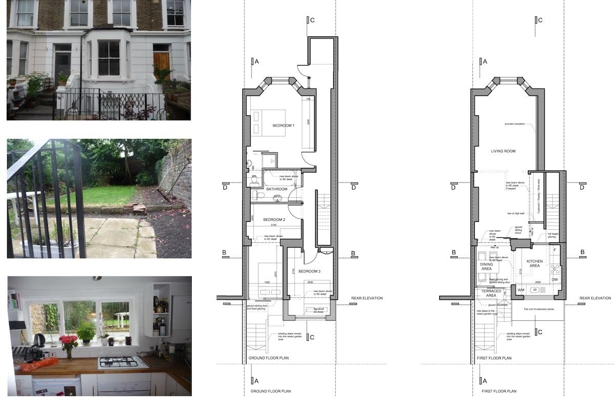 Architect designed rear flat extension Chalk Farm Camden NW5 Design plans 1200x800 Chalk Farm, Camden NW5 | Rear flat extension