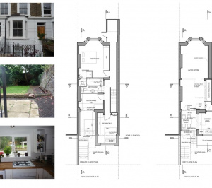 Architect designed rear flat extension Chalk Farm Camden NW5 Design plans 300x266 Chalk Farm, Camden NW5 | Rear flat extension