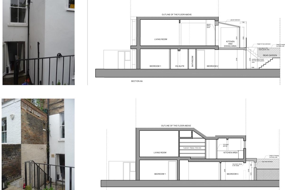 Architect designed rear flat extension Chalk Farm Camden NW5 Design sections 1200x800 Chalk Farm, Camden NW5 | Rear flat extension