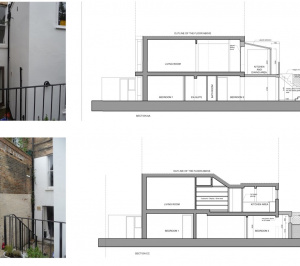 Architect designed rear flat extension Chalk Farm Camden NW5 Design sections 300x266 Chalk Farm, Camden NW5 | Rear flat extension