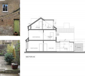Architect designed rear house extension Herne Hill SE24 Lambeth Design section4 300x266 Herne Hill, Lambeth SE24 | House extension