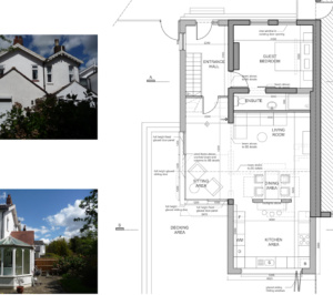 Architect designed residential extension Barnet EN5 Ground floor plan 2 300x266 High Barnet EN5 | Residential extension to locally listed house
