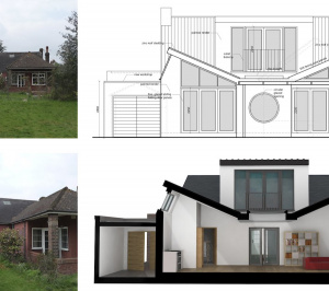 Architect designed residential extension Stoneleigh KT17 – Rear elevation and 3D section 300x266 Stoneleigh KT17 | Extension and alterations to a bungalow
