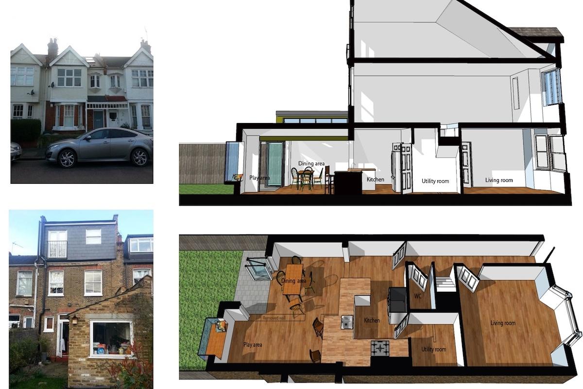 Barnes Richmond SW14 Rear house kitchen extension 3D images 1 1200x800 Barnes, Richmond SW14 | Rear house kitchen extension