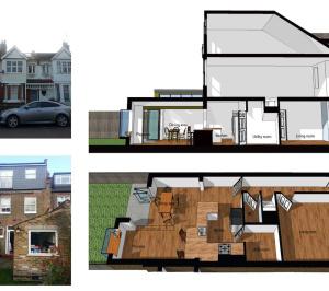 Barnes Richmond SW14 Rear house kitchen extension 3D images 1 300x266 Barnes, Richmond SW14 | Rear house kitchen extension