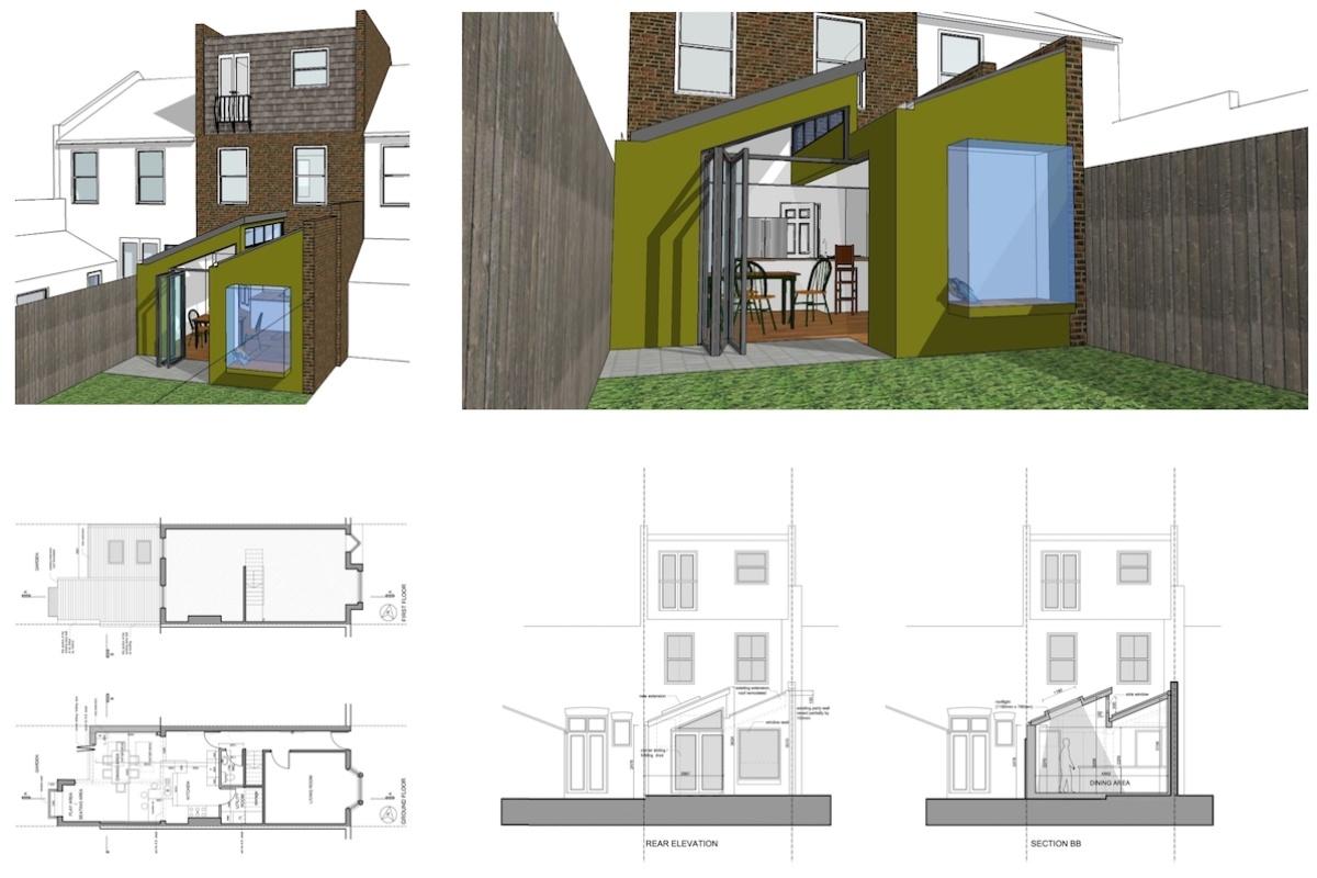 Barnes Richmond SW14 Rear house kitchen extension 3D images and plans 1 1200x800 Barnes, Richmond SW14 | Rear house kitchen extension