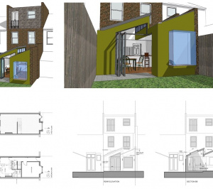 Barnes Richmond SW14 Rear house kitchen extension 3D images and plans 1 300x266 Barnes, Richmond SW14 | Rear house kitchen extension
